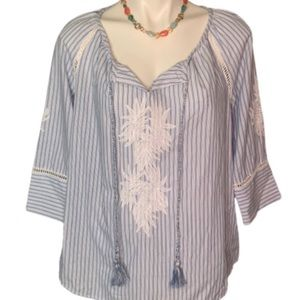 Kut from the Kloth Boho blue & white striped top M
